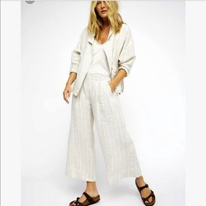 Free People beachy linen 2 peace suit